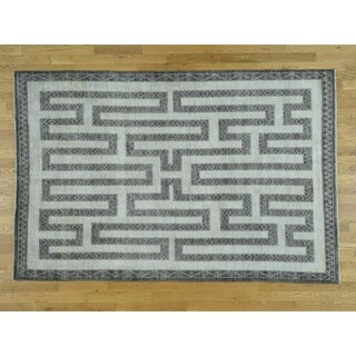 Hand Knotted Ivory Oushak And Peshawar with Wool Oriental Rug - 6' x 9'1