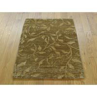 Hand Knotted Brown Modern & Contemporary with Wool Oriental Rug (2' x 2'10)