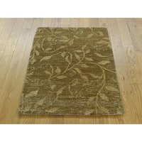 Hand Knotted Brown Modern & Contemporary with Wool Oriental Rug - 2' x 2'10