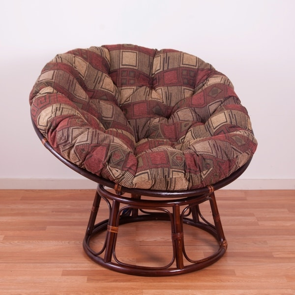 International Caravan Bali 42 Inch Papasan Chair With Chenille Cushion