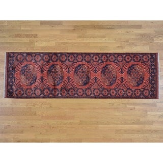Hand Knotted Red Tribal & Geometric with Wool Oriental Rug - 2'10 x 9'7
