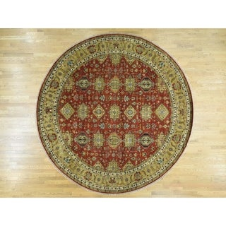 Hand Knotted Red Heriz with Wool Oriental Rug - 9'10 x 9'10