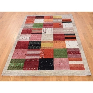 Hand Knotted Multicolored Modern & Contemporary with Wool Oriental Rug - 4'1 x 6'2