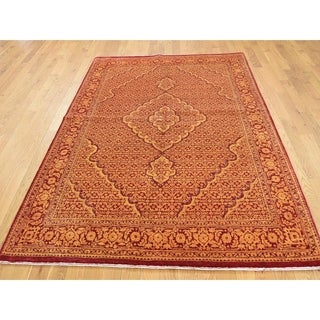 Hand Knotted Red Fine Oriental with Wool & Silk Oriental Rug - 5' x 6'9