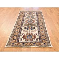 Hand Knotted Ivory Kazak with Wool Oriental Rug - 2'10 x 6'6