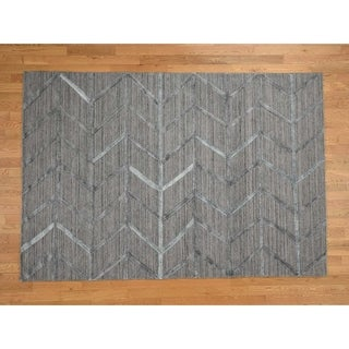 Hand Knotted Grey Modern & Contemporary with Wool & Silk Oriental Rug - 6' x 9'