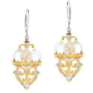 Michael Valitutti Palladium Silver White Quartz Candelabra Chandelier Earrings