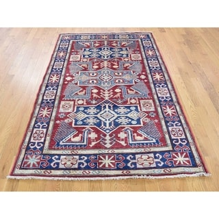 Hand Knotted Red Kazak with Wool Oriental Rug - 4' x 6'2