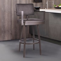 8dd5e368e4f Armen Living Balboa Barstool with Arms in a Brown Powder Coated Finish and  Vintage Brown Faux