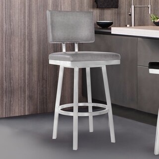 Armen Living Balboa Barstool in Brushed Stainless Steel and Vintage Grey Faux Leather