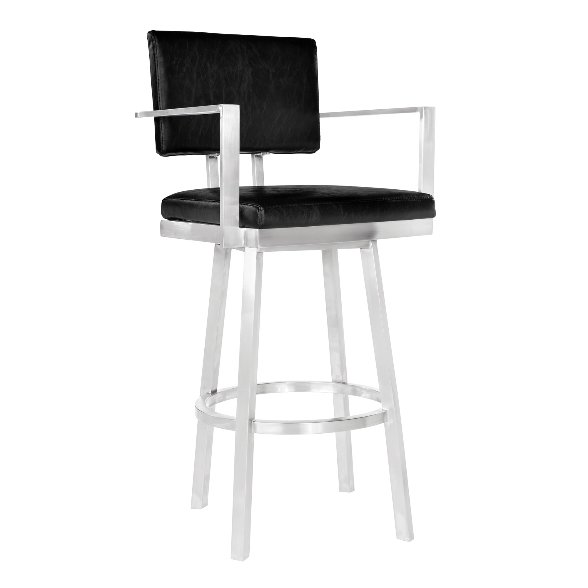 Pleasing Armen Living Balboa Barstool With Arms In Brushed Stainless Steel And Vintage Black Faux Leather Onthecornerstone Fun Painted Chair Ideas Images Onthecornerstoneorg
