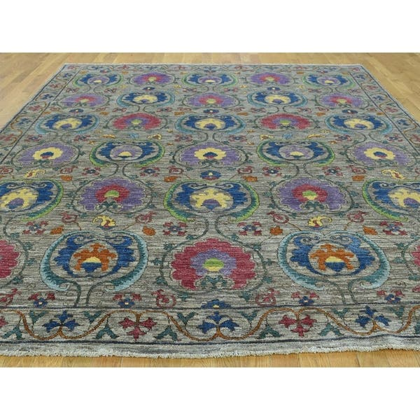 Hand Knotted Grey Arts And Crafts With Wool Oriental Rug 8 1 X 10 On Sale Overstock 21524457