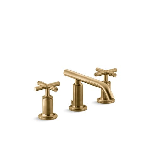 Purist Low Cross Handles Widespread Bathroom Sink Faucet