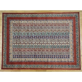 Hand Knotted Multicolored Kazak with Wool Oriental Rug - 8'2 x 11'2