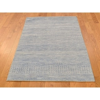 Hand Knotted Blue Modern & Contemporary with Wool & Silk Oriental Rug - 3' x 5'1