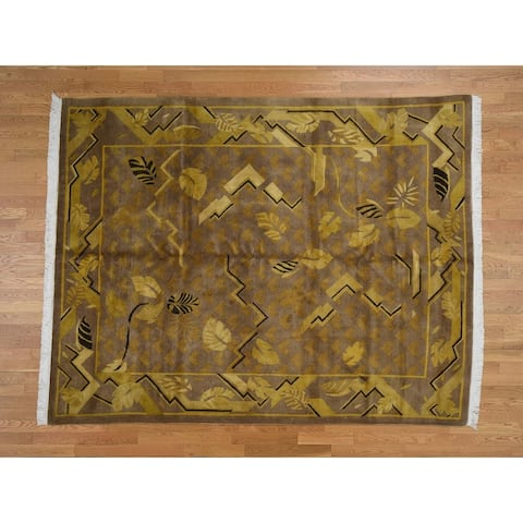 Hand Knotted Yellow Clearance with Wool Oriental Rug - 7'8 x 9'7