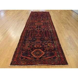 Hand Knotted Blue Overdyed & Vintage with Wool Oriental Rug - 3'8 x 13'8