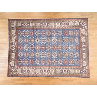 Hand Knotted Blue Kazak with Wool Oriental Rug - 8'9 x 12'1