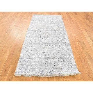 Hand Knotted Grey Modern & Contemporary with Wool & Silk Oriental Rug - 2'7 x 5'10