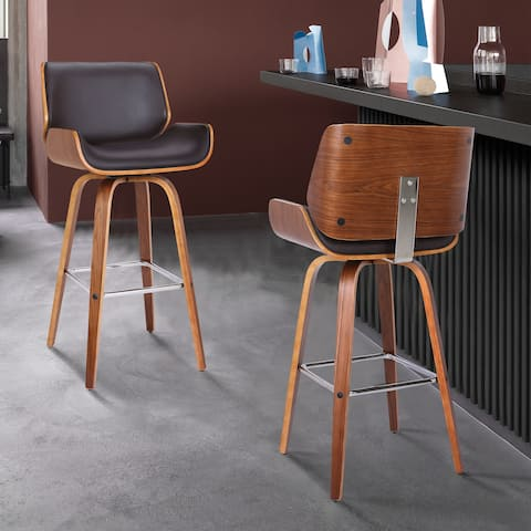 Armen Living Tyler Mid-Century Swivel Barstool in Brown Faux Leather with Walnut Veneer