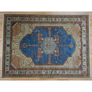 Hand Knotted Blue Heriz with Wool Oriental Rug - 8'10 x 12'1