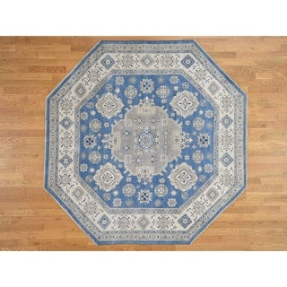 Hand Knotted Blue Kazak with Wool Oriental Rug - 7'8 x 7'10