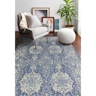 "Alberta Dark Blue Transitional Area Rug - 7'6"" x 9'6"""