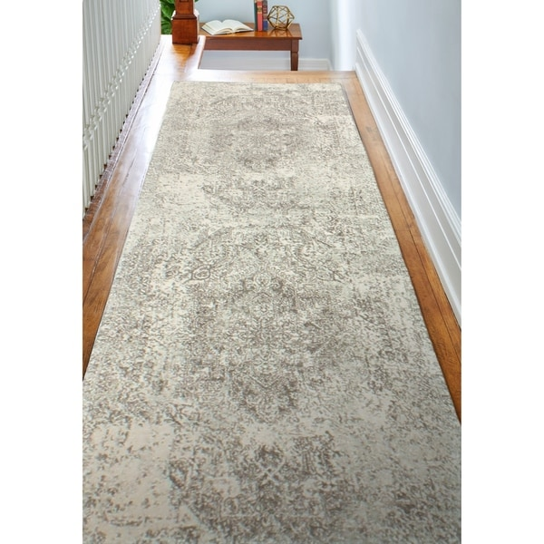 """Digna Ivory/Grey Transitional Area Rug - 2'6"""" x 8' Runner"""