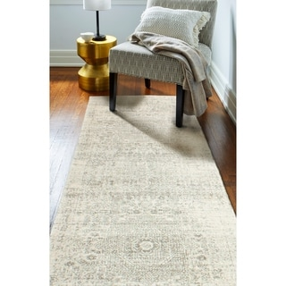 """Ivory/Silver Transitional  Area Rug - 2'6"""" x 8' Runner"""