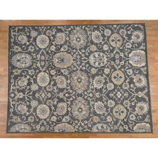 Hand Knotted Grey Oushak And Peshawar with Wool Oriental Rug