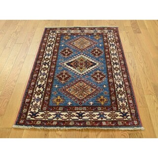 Hand Knotted Blue Kazak with Wool Oriental Rug - 2'9 x 4'2