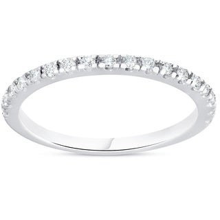 Bliss 10k White Gold 1/4 ct TDW Diamond Wedding Ring Stackable Womens Anniversary Band