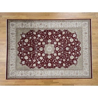 Hand Knotted Red Fine Oriental with Wool & Silk Oriental Rug - 8'1 x 11'6