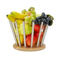 Mind Reader Environment-Friendly Bamboo and Stainless Fruit Bowl, Silver