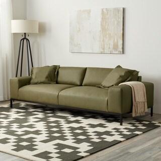 Stone and Stripes Jasper Sofa in Olive Green Leather