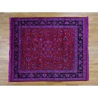 Hand Knotted Red Clearance with Wool Oriental Rug - 8'3 x 9'10
