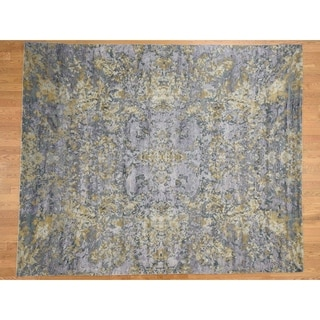 Hand Knotted Multicolored Modern & Contemporary with Wool & Silk Oriental Rug - 8' x 9'10