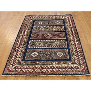 Hand Knotted Blue Kazak with Wool Oriental Rug - 4'1 x 5'9