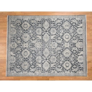Hand Knotted Grey Oushak And Peshawar with Wool & Silk Oriental Rug - 8' x 10'2