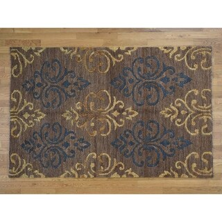 Hand Knotted Brown Modern & Contemporary with Jute Oriental Rug - 5'3 x 8'