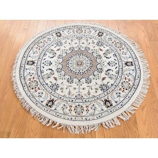 Hand Knotted Ivory Fine Oriental with Wool & Silk Oriental Rug - 3' x 3'1