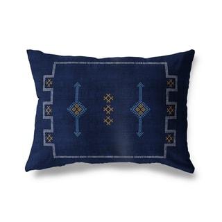 Cactus Silk Navy Lumbar Pillow By Becky Bailey