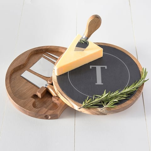 Personalized Slate and Acacia Cheese Board w/ Utensils