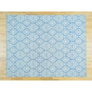 Hand Knotted Ivory Flat Weave with Wool Oriental Rug - 9' x 12'
