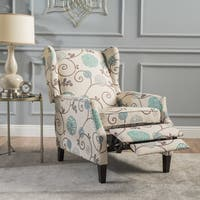 Wescott Wingback Floral Fabric Recliner Club Chair by Christopher Knight Home (As Is Item)