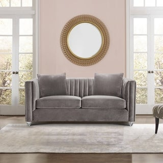 Armen Living Emperor Contemporary Loveseat with Acrylic Finish and Beige Fabric