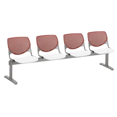 KFI KOOL 4 Seat Beam Bench, Coral Back, White Seat