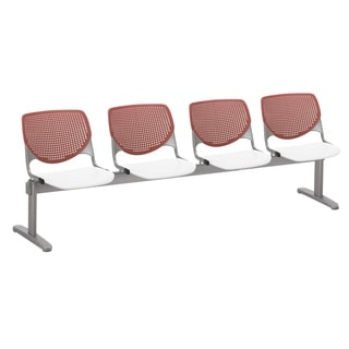 Link to KFI KOOL 4 Seat Beam Bench, Coral Back, White Seat Similar Items in Office & Conference Room Chairs