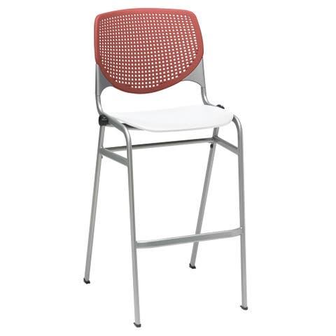 KFI KOOL Poly Stack Barstool , Coral Back, White Seat