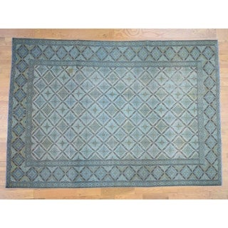 Hand Knotted Blue Overdyed & Vintage with Wool Oriental Rug - 8'10 x 12'6